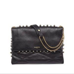 Lanvin Paris Black Sugar Studded Shoulder Bag